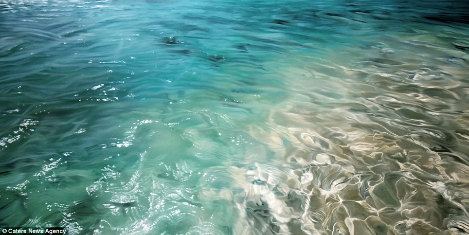 The finger paintings also seem to capture warmer seas, with this particular image looking more like tropical ocean than arctic ocean