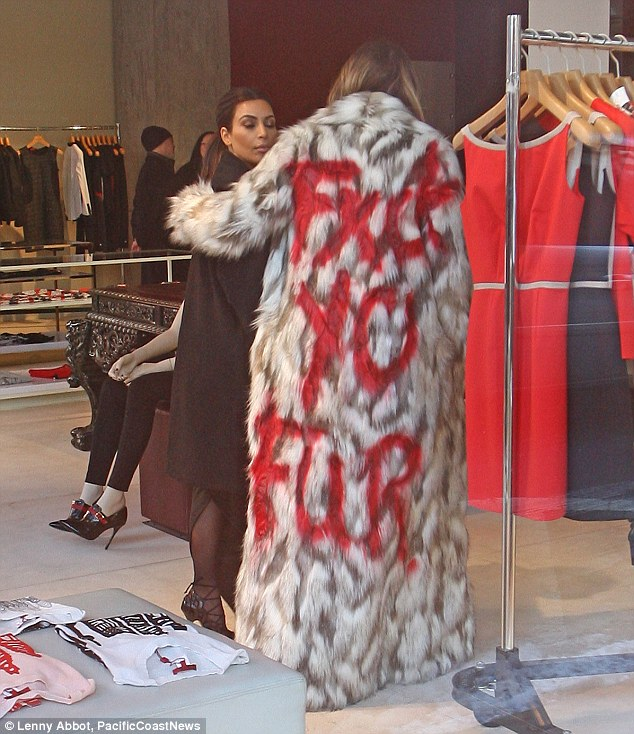 Making a scene Khloe? It was unclear what sister Kim thought of the jacket as they arrived at the DASH store on Monday