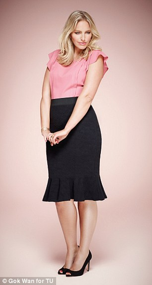 Curve enhancing: Gok hopes that his new range will help flatter women of all shapes and he has used his expert tailoring to ensure that (left, soft peplum top, £22, textured ponte peplum hem, £30, right, printed bow wrap dress, £40)
