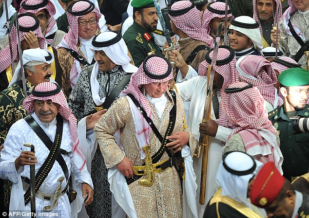 The Ardah features hundreds of Saudi Arabian men and boys dancing in formation with swords in hand