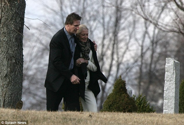 Sad day: Neeson comforts Natasha Richardson's mother, actress Vanessa Regrave