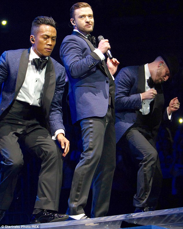 Take Back The Night: Justin Timberlake took to the stage at Madison Square Garden in New York on Thursday after cancelling his Wednesday night's show due to 'health reasons'