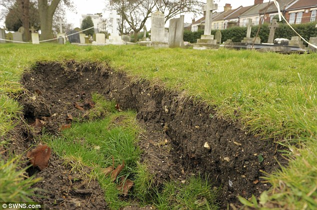 Patching up: The local council is busy backfilling the sunken graves with more soil