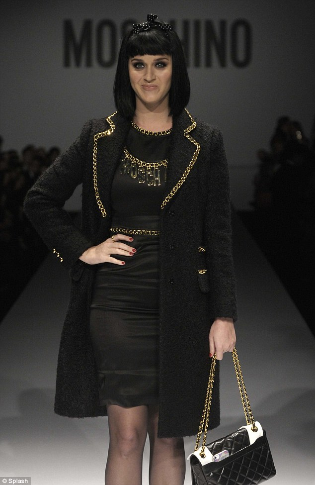 Here she comes: But Katy Perry was booed after taking to the runway at the Moschino show during Milan Fashion Week