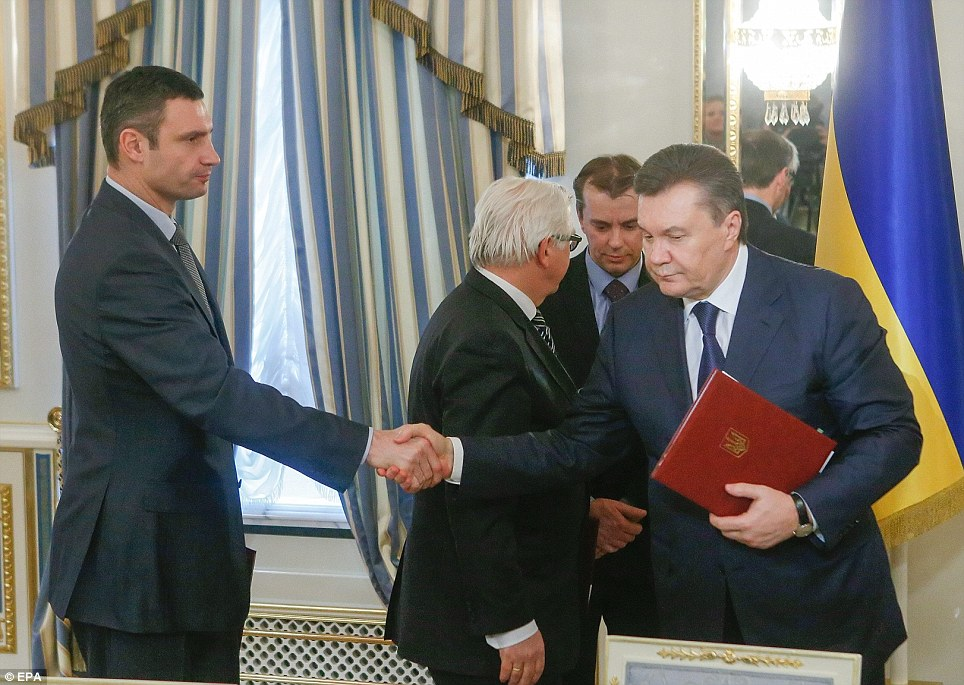 The last time Viktor Yanukovich was seen was when he signed a peace deal with opposition leader Vitali Klitschko. The pair shook hands after signing the agreement in the Presidential Palace, bringing the violence to a temporary end