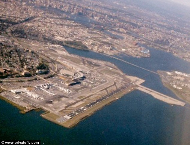 LaGuardia Airport, in the New York City borough of Queens gives those on the left hand side of the plane a sightseeing view of Manhattan