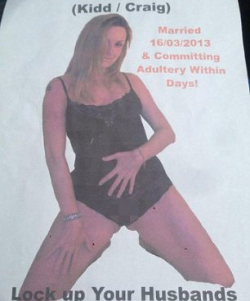 Raunchy: Cuthbert distributed this poster of his estranged wife around their neighbourhood