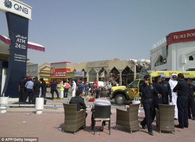 Roads around the blast site have been closed due to the restaurant's proximity to the QNB petrol station