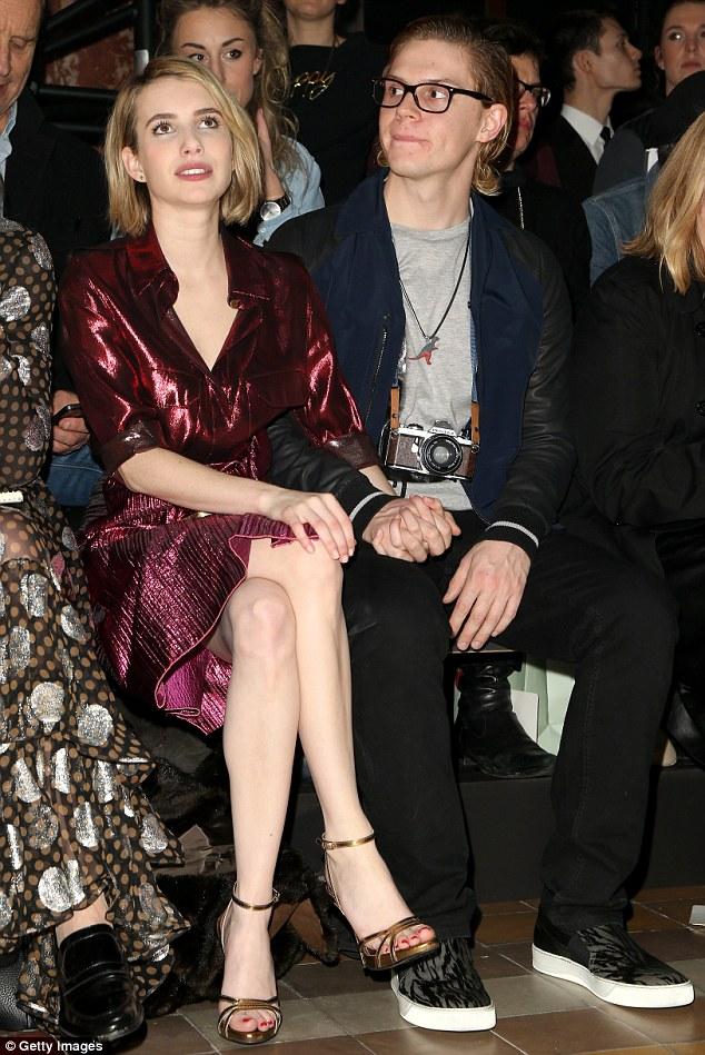 Emma Roberts Sits With Evan Peters At Lanvins Paris
