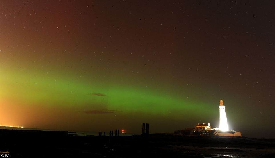 Gleaming: The Aurora Borealis, or the Northern Lights as they are commonly known, at St Mary's Lighthouse and Visitor Centre in Whitely Bay, North Tyneside