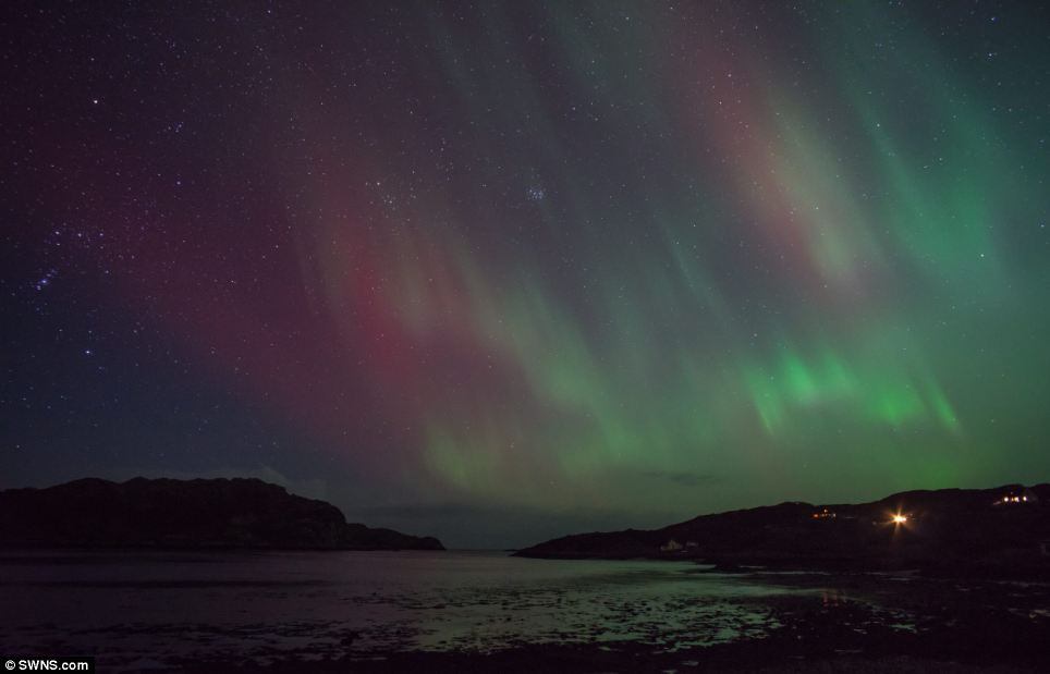 Unbelieveable: The Northern Lights display at Inverkirkaig, near Lochinver in Sutherlandshire, Scotland. The display lasted for two hours before clouds obscured them