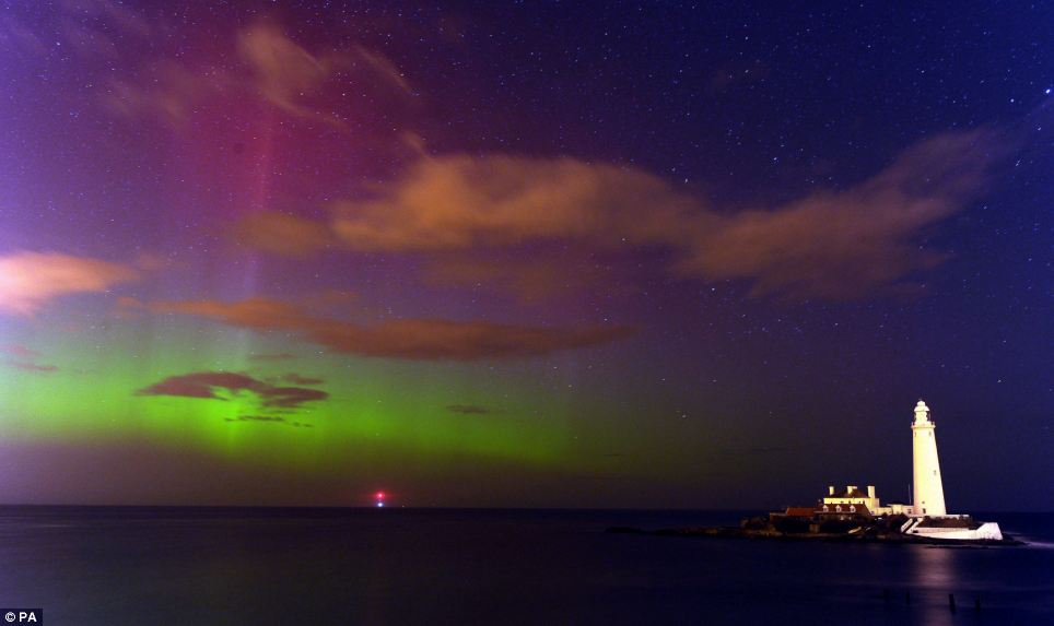 Daylight: The night appears to turn into day as the lights shine over St Mary's Lighthouse in Whitely Bay
