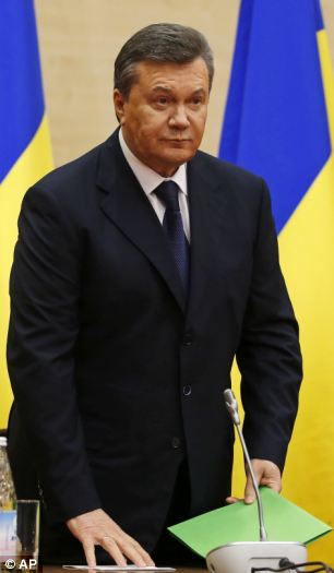 Ukraine's fugitive president Viktor Yanukovych gives a news conference in Rostov-on-Don