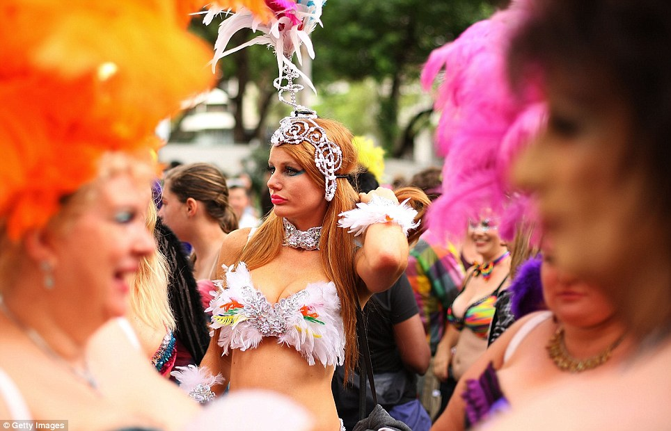While the weather was not quite bikini-hot, it didn't stop the most flamboyant crowd of Sydney from adorning themselves with sequins and g-strings in their scantily clad attire for the entire day