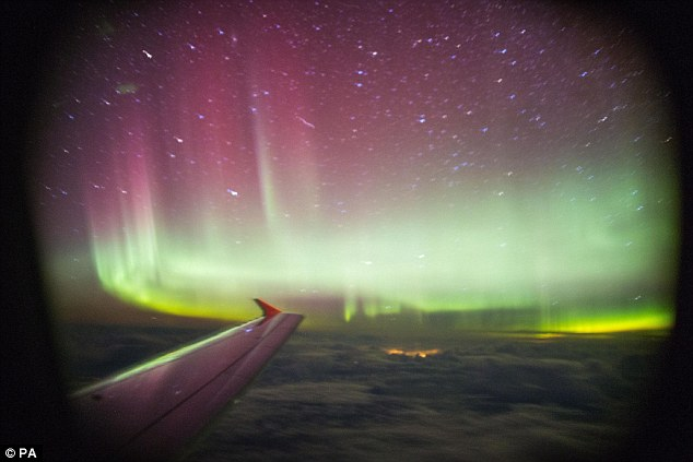 Northern Lights show: A passenger captured this stunning image on board a BA flight over the Shetland Isles