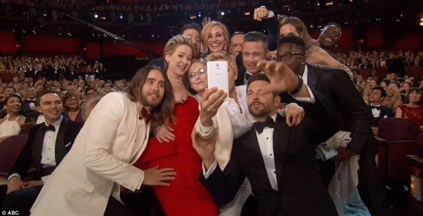Most star-studded selfie ever? Stars including Jared Leto, Jennifer Lawrence and Meryl Street along with Brad Pitt and Angelina Jolie got involved int he snap taken by Bradley Cooper
