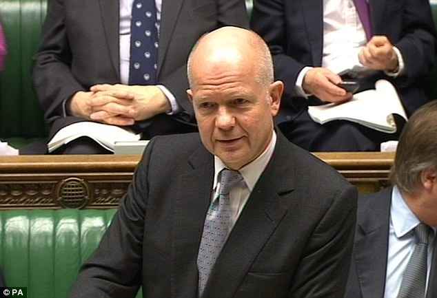 'Regrettable': William Hague answers questions from MPs in the House of Commons on the escalating crisis in the Ukraine and a secret document that suggested Britain would not support military action against Russia