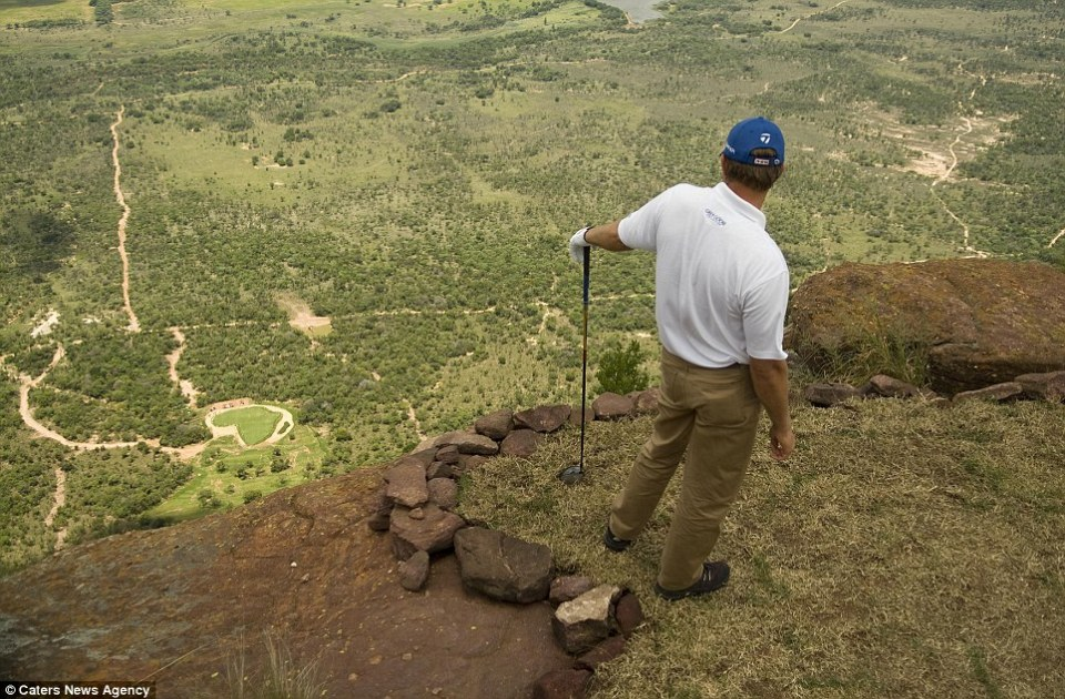 Image result for Sitting atop South Africa's Hanglip Mountain, at 400 meters tall it is also the globe's highest hole, meaning it takes almost 30 seconds for any tee shot to reach the Africa-shaped green below.