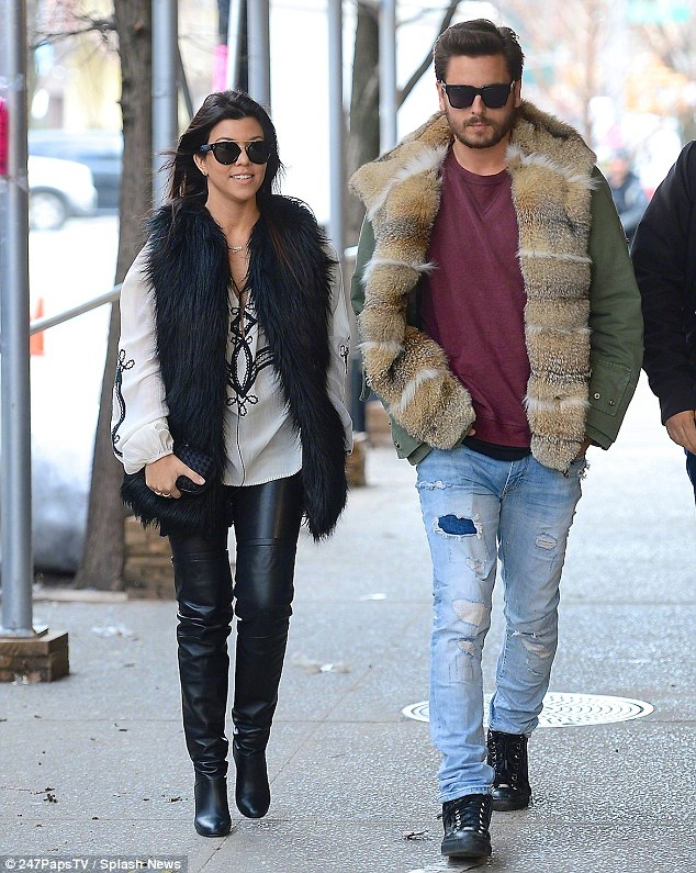 One step closer: According to reports, the pair celebrated their upcoming marriage with bachelor and bachelorette parties in New York City on February 22 - pictured here just two days later enjoying a cosy lunch outing at Cipriani's