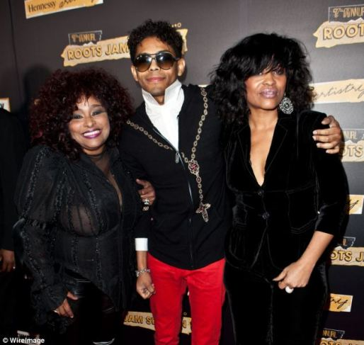 Family: Brandon Howard (centre) is pictured with his mother, singer Miki Howard (right) and Chaka Khan (left)