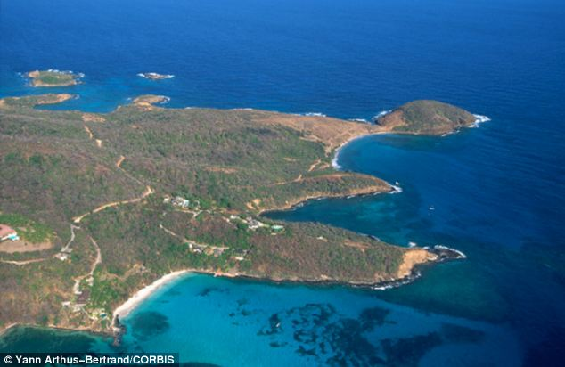 Holiday: The Duchess has only recently returned from a week-long family holiday with Prince George in Mustique, along with a full group of police bodyguards. Above, the island in St Vincent and the Grenadines