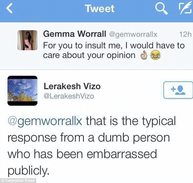 Despite Miss Worrall putting on a brave face, she admitted the comments she received upset her