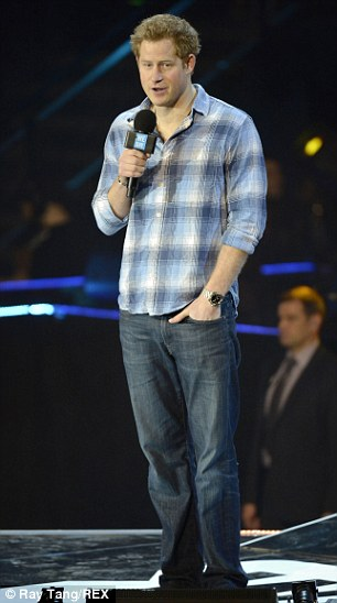 The Prince cut a relaxed figure as he talked onstage with his hand in his jeans pocket