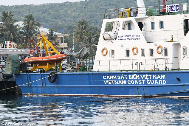 Search by sea: A Vietnam coast guard ship is seen anchored at a local naval base at Phu Quoc island