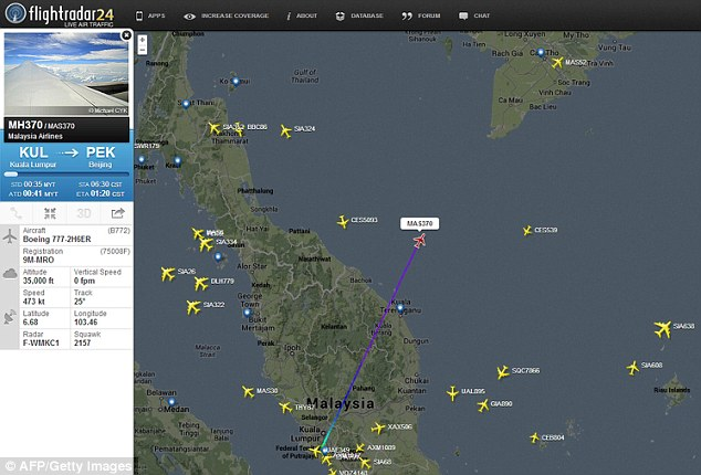 Without a trace: This image courtesy of Flightradar24, shows the flight track of Malaysian Airlines flight 370 on March 7, 2014