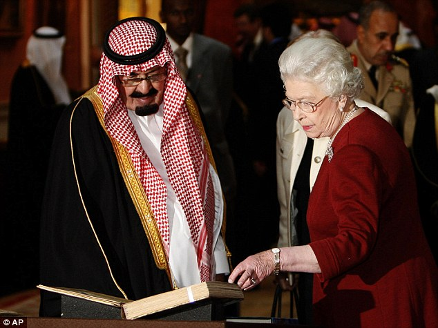 Royal visit: King Abdullah, who has 38 children by many wives, is pictured with the Queen in London in 2007