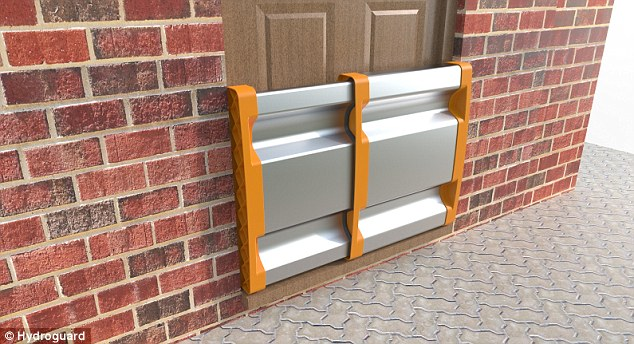 The HydroGuard invention, pictured, is a reusable flood protection device that can be quickly put in place by homeowners. It fits any door type and is expandable, meaning the unit expands to fit any door size. It works by sealing the door and prevents water from being able to get through