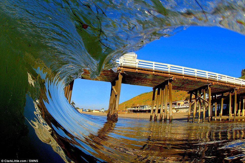 A classic Californian setting captured from a new perspective: Malibu Pier shot by Mr Little from inside the tube