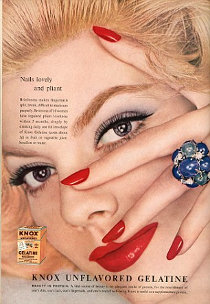A polish ad that suggested using gelatin to coat the nails