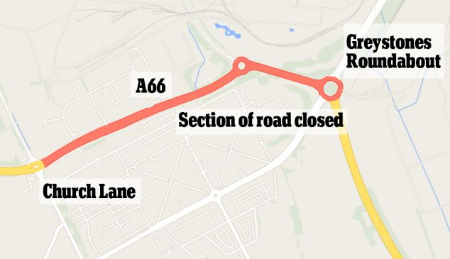 Road block: This stretch of the A66 was sealed off by police investigating the incident
