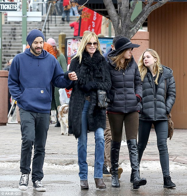 Blended family: The Hollywood power couple are parents to daughter Stella, 17 (R), and the Cecil B. Demented star also has a daughter Dakota, 23 (M), and son Alexander, 27 with exes