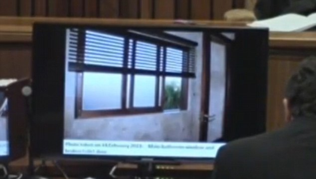 Evidence: A view of the bathroom window from the inside as shown on computer screens in the court