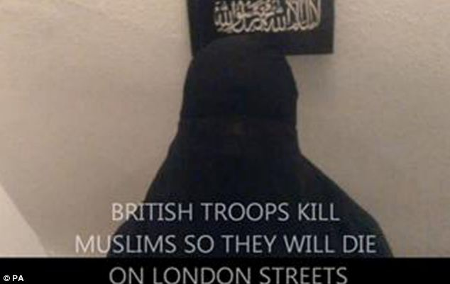 University student Rebekah Dawson appears in one of the videos - where the caption reads 'British troops kill Muslims so they will die on London Streets'