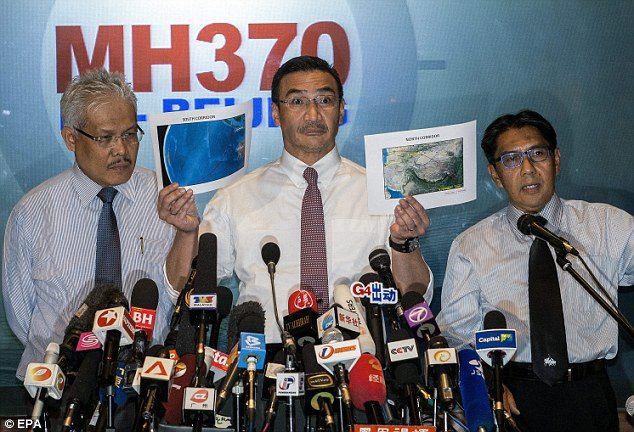 Clueless? Malaysian acting Transport Minister Hishamuddin Hussein, centre, director general of the Malaysian Department of Civil Aviation, Azharuddin Abdul Rahman, right, and Malaysian Deputy Foreign Minister Hamzah Zainudin during a  MH370 press conference near the Kuala Lumpur International Airport yesterday