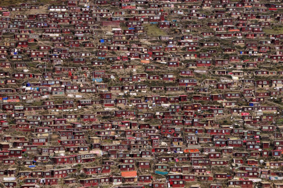 Tiny houses: The densely populated area features rows of simple red houses