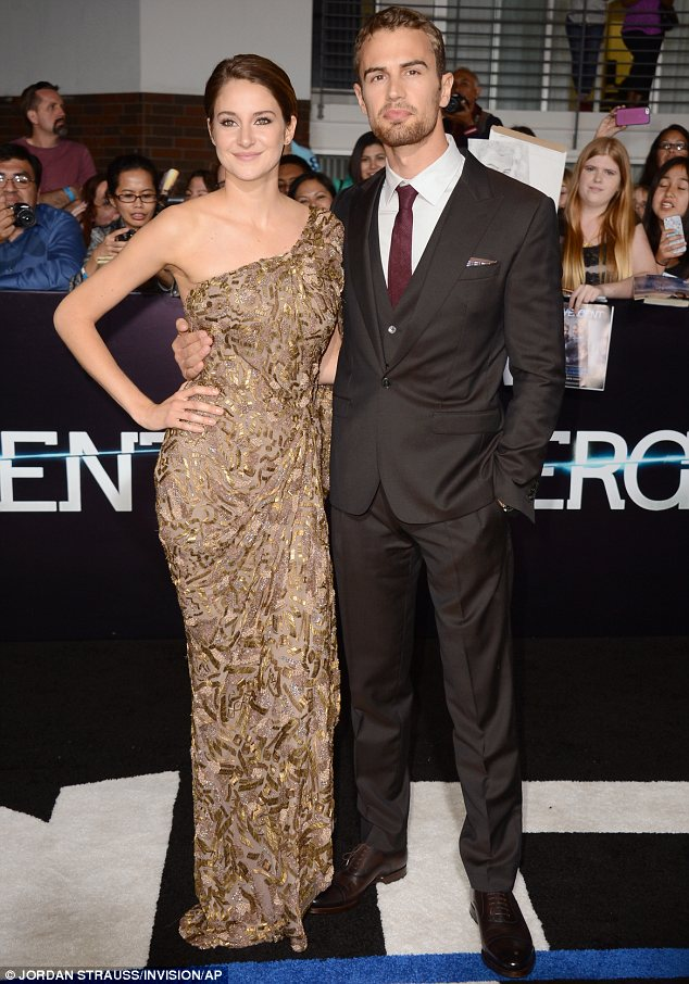 Elegant: Shailene and Theo looked elegant in their premiere attire as they posed for pictures on the carpet <br>