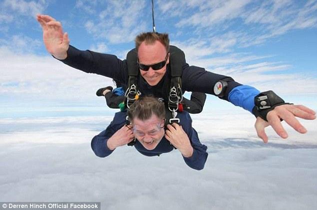 Taking the plunge: The former 3AW presenter did a tandem skydive over St Kilda beach in Melbourne