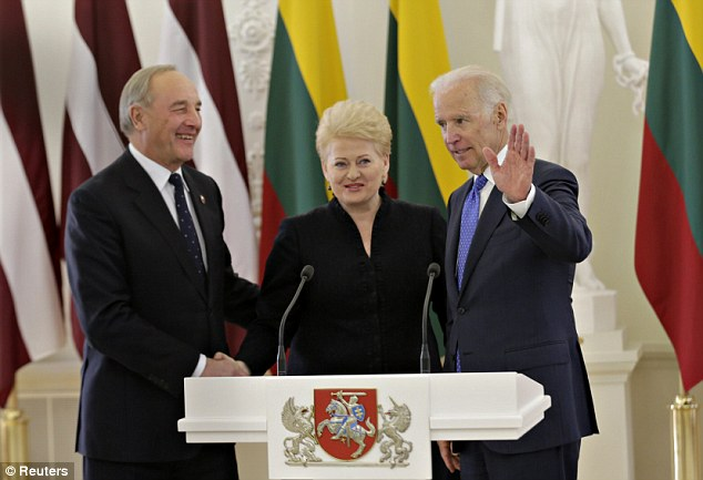 Talks: U.S. Vice President Joe Biden met with Lithuania's President Dalia Grybauskaite (centre) and Latvia's President Andris Berzins (left) on Wednesday