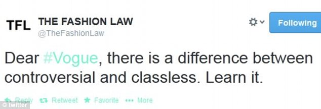 Typically reserved and reported blog The Fashion Law exerted an opinion on the issue, implying that it is classless