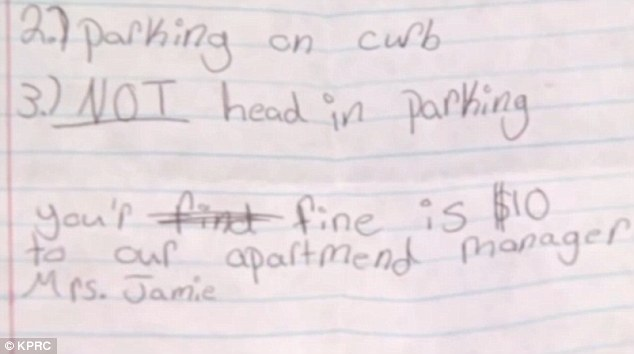 Bold teenager, 14, issues cop with handwritten 'parking