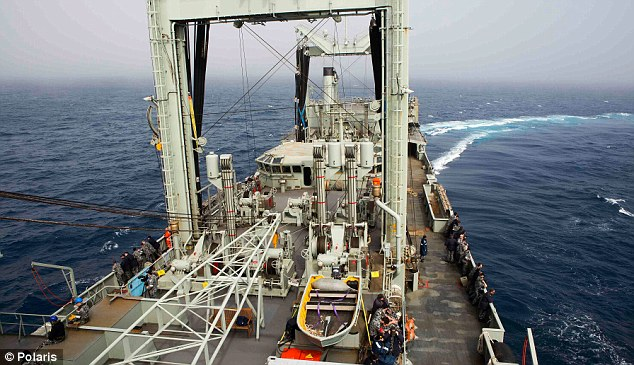 The search continues: Crews aboard HMAS Success had again reached the debris field today