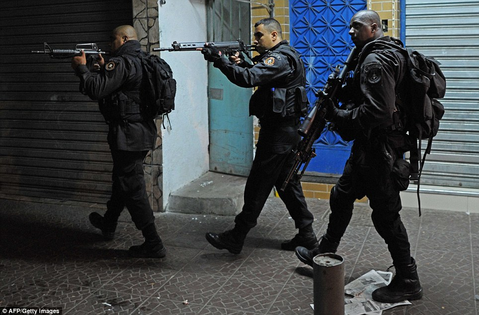 The BOPE paramilitary police unit have been patrolling streets since dusk. Once they leave a more long-term patrol force will be established in the favela. Police have installed 37 such posts in recent years in an area covering 1.5 million people