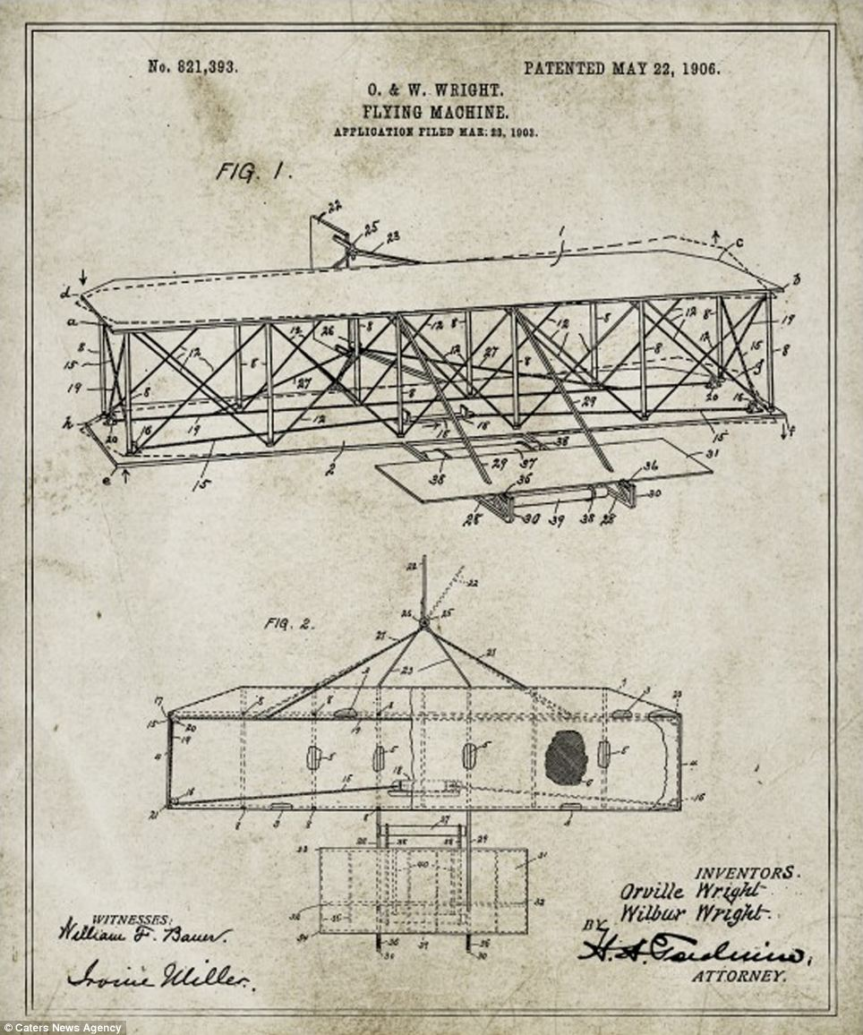 The ingenious structure of the Wright brothers' flying machine (pictured) was patented in 1906 by the two American aviation pioneers who built the world's first successful airplane and made the first controlled and powered human flight in a machine heavier than air, in 1903