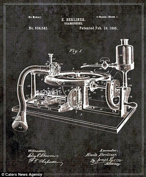 Berliner Gramophone was an early record label, the first company to produce disc 'gramophone records' pictured playing on this intricate gramophone