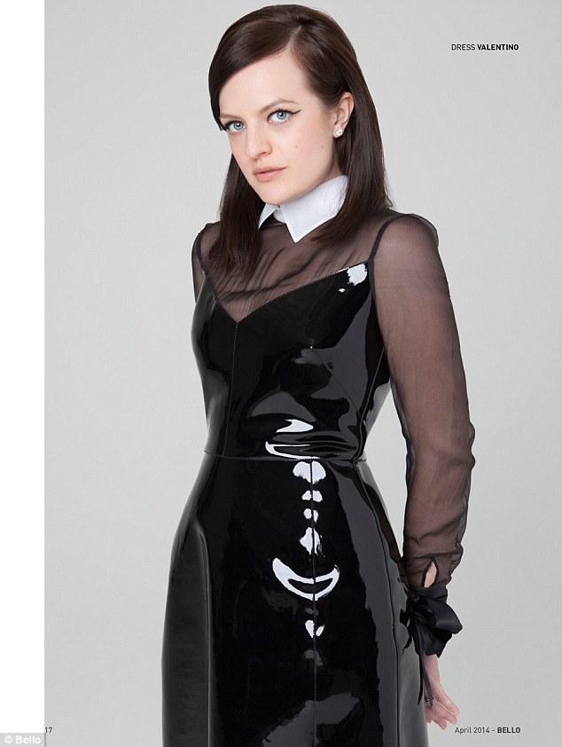 Elisabeth Moss Sexy Slit Leather Skirt Trumps January