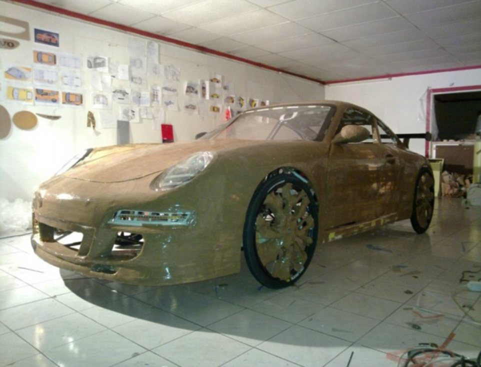 The car is covered in gold aluminum foil - it took Mr Langeder 1,000 hours over six months to build the car